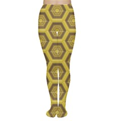 Golden 3d Hexagon Background Women s Tights