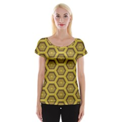 Golden 3d Hexagon Background Women s Cap Sleeve Top