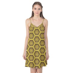 Golden 3d Hexagon Background Camis Nightgown