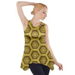 Golden 3d Hexagon Background Side Drop Tank Tunic