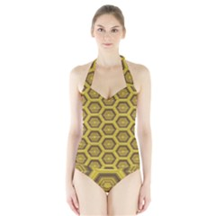 Golden 3d Hexagon Background Halter Swimsuit