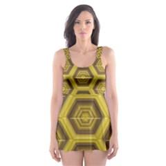 Golden 3d Hexagon Background Skater Dress Swimsuit