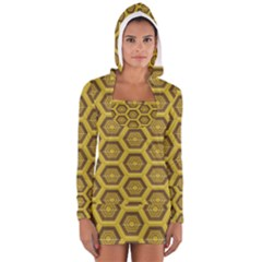 Golden 3d Hexagon Background Women s Long Sleeve Hooded T Shirt
