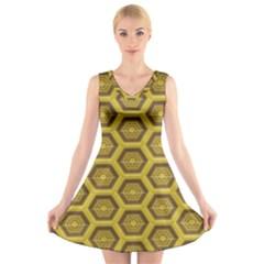 Golden 3d Hexagon Background V-Neck Sleeveless Skater Dress