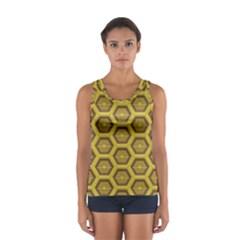 Golden 3d Hexagon Background Women s Sport Tank Top