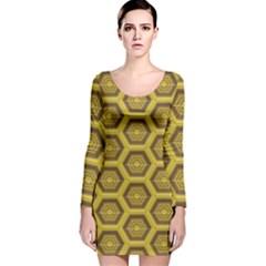 Golden 3d Hexagon Background Long Sleeve Velvet Bodycon Dress