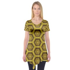 Golden 3d Hexagon Background Short Sleeve Tunic