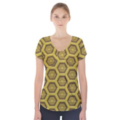 Golden 3d Hexagon Background Short Sleeve Front Detail Top