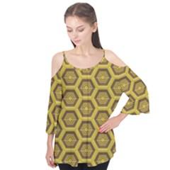 Golden 3d Hexagon Background Flutter Tees