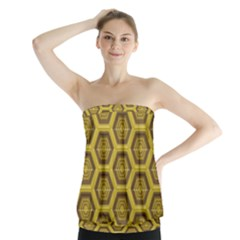 Golden 3d Hexagon Background Strapless Top