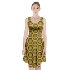 Golden 3d Hexagon Background Racerback Midi Dress