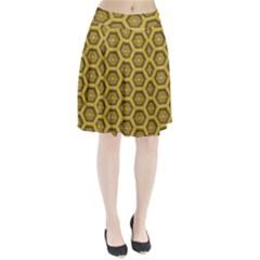 Golden 3d Hexagon Background Pleated Skirt