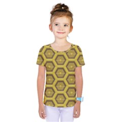 Golden 3d Hexagon Background Kids  One Piece Tee