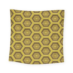 Golden 3d Hexagon Background Square Tapestry (small)