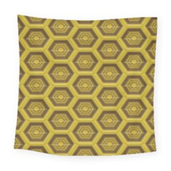 Golden 3d Hexagon Background Square Tapestry (large)
