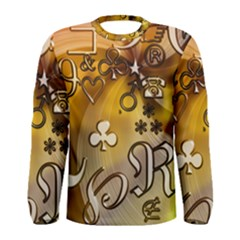 Symbols On Gradient Background Embossed Men s Long Sleeve Tee