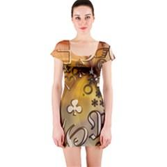 Symbols On Gradient Background Embossed Short Sleeve Bodycon Dress