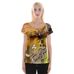 Symbols On Gradient Background Embossed Women s Cap Sleeve Top