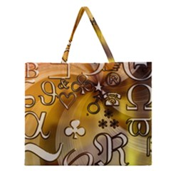 Symbols On Gradient Background Embossed Zipper Large Tote Bag