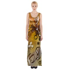 Symbols On Gradient Background Embossed Maxi Thigh Split Dress