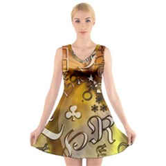 Symbols On Gradient Background Embossed V Neck Sleeveless Skater Dress