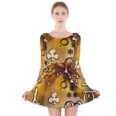 Symbols On Gradient Background Embossed Long Sleeve Velvet Skater Dress