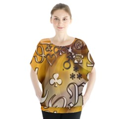Symbols On Gradient Background Embossed Blouse