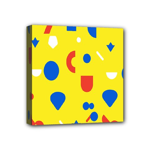 Circle Triangle Red Blue Yellow White Sign Mini Canvas 4  x 4