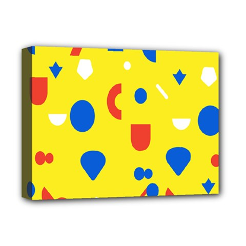 Circle Triangle Red Blue Yellow White Sign Deluxe Canvas 16  x 12