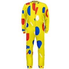 Circle Triangle Red Blue Yellow White Sign OnePiece Jumpsuit (Men)