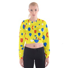 Circle Triangle Red Blue Yellow White Sign Women s Cropped Sweatshirt