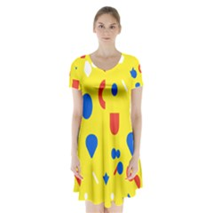 Circle Triangle Red Blue Yellow White Sign Short Sleeve V Neck Flare Dress