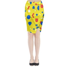Circle Triangle Red Blue Yellow White Sign Midi Wrap Pencil Skirt