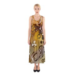 Symbols On Gradient Background Embossed Sleeveless Maxi Dress