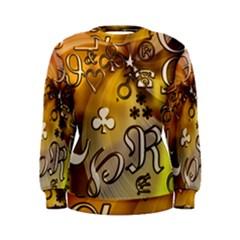 Symbols On Gradient Background Embossed Women s Sweatshirt