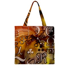 Symbols On Gradient Background Embossed Zipper Grocery Tote Bag