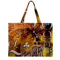 Symbols On Gradient Background Embossed Zipper Mini Tote Bag