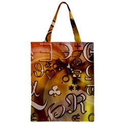 Symbols On Gradient Background Embossed Zipper Classic Tote Bag