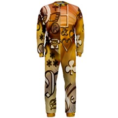 Symbols On Gradient Background Embossed Onepiece Jumpsuit (men)