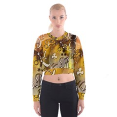 Symbols On Gradient Background Embossed Women s Cropped Sweatshirt