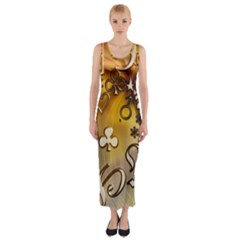 Symbols On Gradient Background Embossed Fitted Maxi Dress