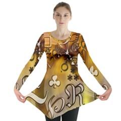 Symbols On Gradient Background Embossed Long Sleeve Tunic