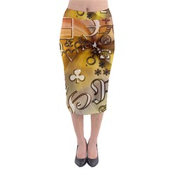 Symbols On Gradient Background Embossed Midi Pencil Skirt