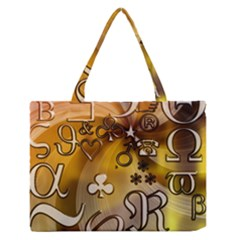 Symbols On Gradient Background Embossed Medium Zipper Tote Bag