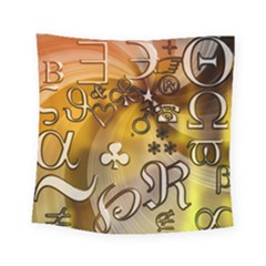 Symbols On Gradient Background Embossed Square Tapestry (small)
