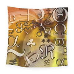 Symbols On Gradient Background Embossed Square Tapestry (large)