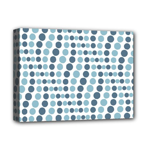 Circle Blue Grey Line Waves Deluxe Canvas 16  X 12