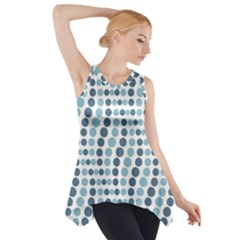 Circle Blue Grey Line Waves Side Drop Tank Tunic