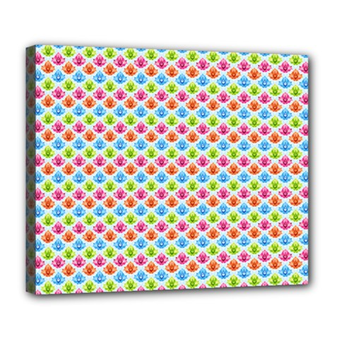 Colorful Floral Seamless Red Blue Green Pink Deluxe Canvas 24  X 20