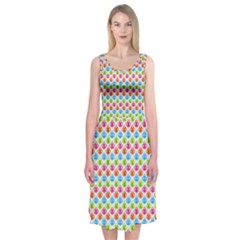 Colorful Floral Seamless Red Blue Green Pink Midi Sleeveless Dress